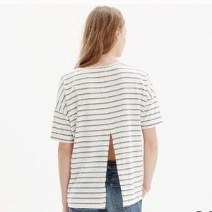 Madewell slit back striped top L